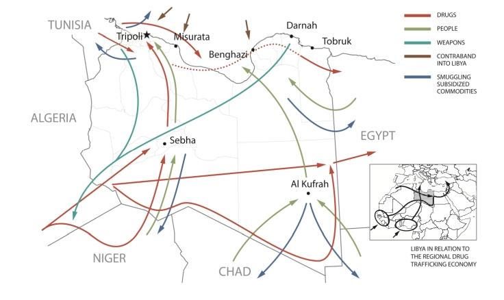 Libia principali rotte dei traffici