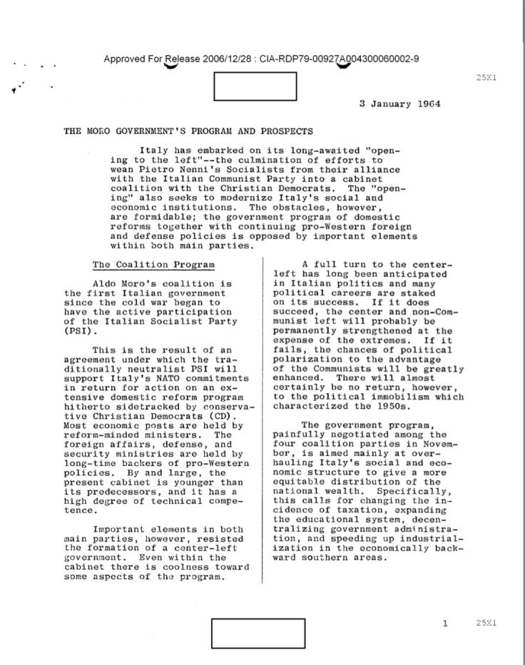 Le proposte del governo Moro