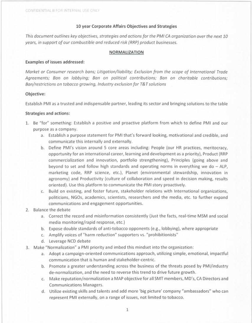 10 Years Corporate Affairs Objectives
